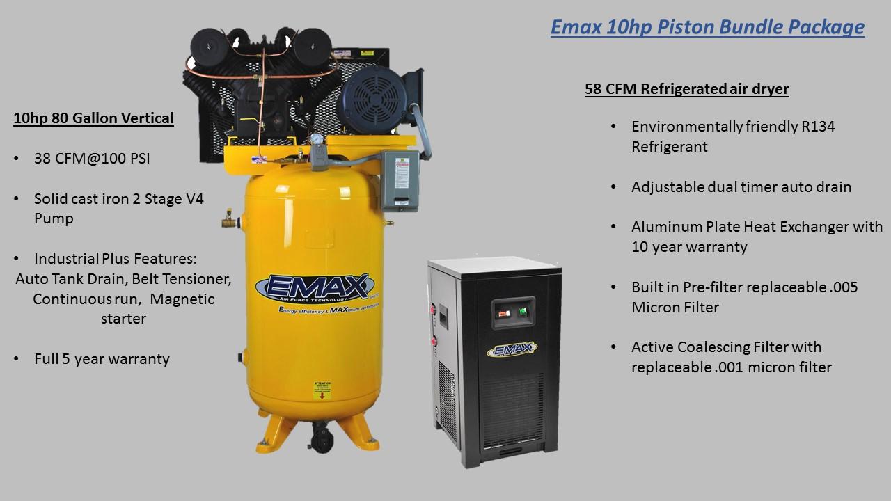 Emax Ep10v120y3pkg 10 Hp Two Stage Three Phase Air